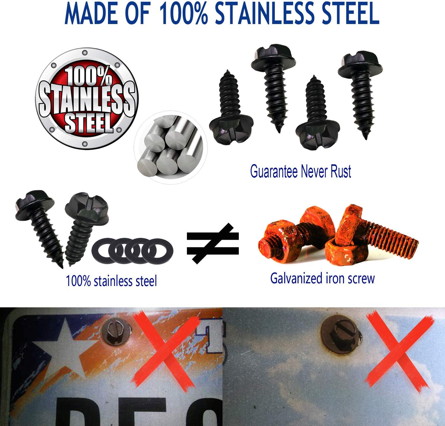 Black License Plate Screws Stainless Steel Lock Screws Fastener Kit Rust Proof Screw Caps Covers,for Front or Rear Cars and Truck Plate M6X20mm Metric 1//4 Self-Tapping Car Tag Mounting Hardware