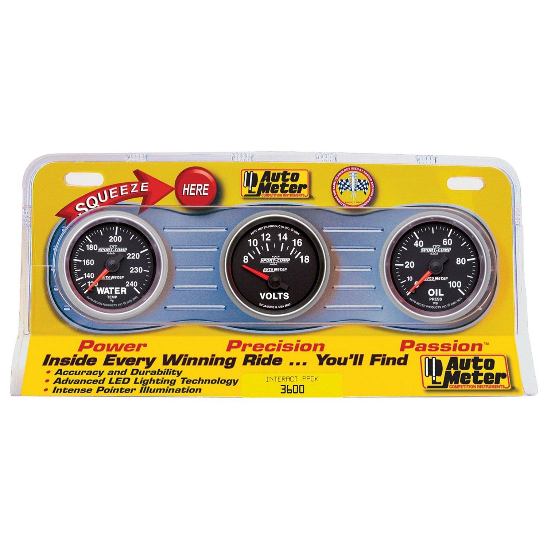 Auto Meter 3600 Sport-Comp II 2-1/16' Mechanical Three-Gauge Interact Pack (Oil/Water/Volt)