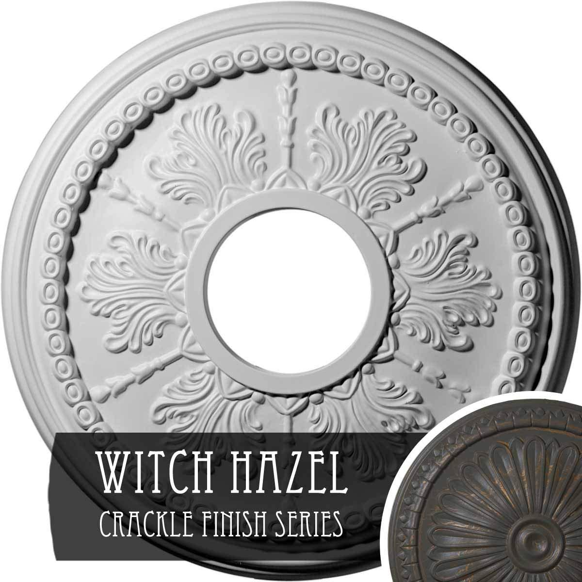 Ekena Millwork CM13TIWHC 13-7/8'' x 3-3/4'' x 1-1/4'' Tirana Ceiling Medallion, Witch Hazel Crackle