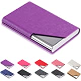 (Purple) - DMFLY Business Name Card Holder Luxury PU Leather & Multi Card Case, Business Name Card Holder Wallet Credit Card ID Case Holder for Women & Men - Keep Your Business Cards Clean (Purple)