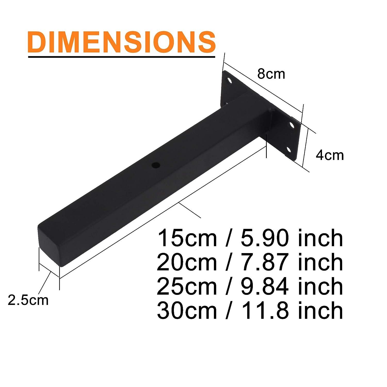 addgrace Industrie schwarz H/ängeregal Klammern Retro Wand montiert Regal unterst/ützt inkl Schrauben /& D/übel 6 Inch Round