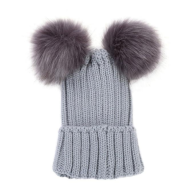 Amazon.com: YueLian Little Girls Winter Autumn Curf Knit Kid Cable Beanie Pom Cap (Black): Clothing