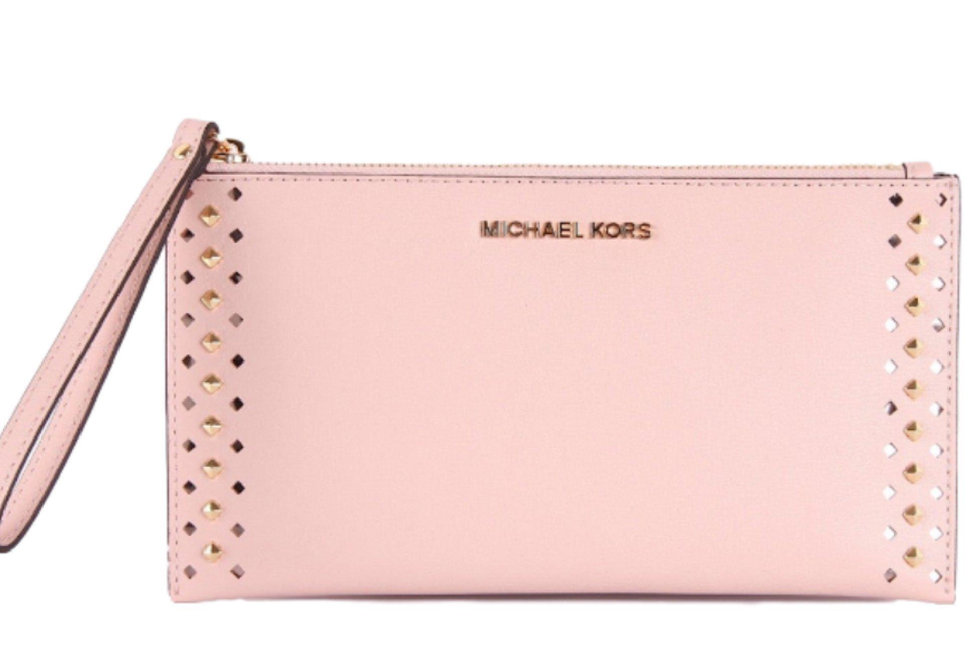 Michael Kors Studded Jet Set Travel Leather Clutch Wristlet Bag , Ballet