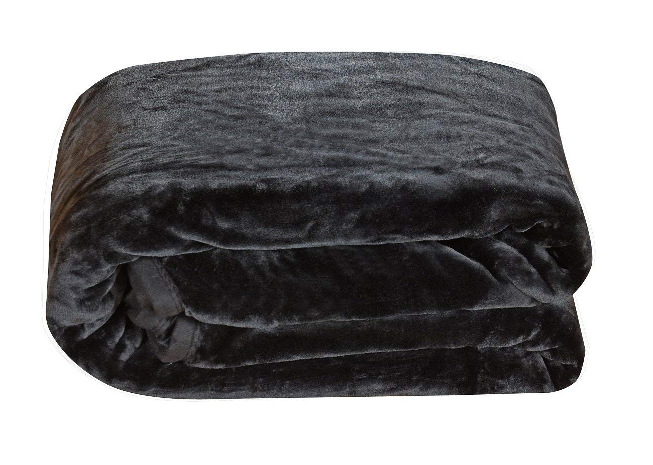 Chezmoi Collection Heavy Thick One Ply Korean Style Faux Mink Blanket 9-Pound Oversized King 105x92 King, Navy