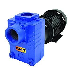 "AMT Pump 2874-95 Self-Priming Centrifugal Pump, Cast Iron, 3 HP, 3 Phase, 208-230/460 V, Curve A, 3"" NPT Female Suction & Discharge Ports"