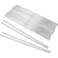 10 Pairs of Stainless Steel Metal Chopsticks - Reusable Chopsticks Traditional Korean Chopstick Set for Asian Food Kimchi Sushi Silver - 9 x 0.19 x 0.19 Inches