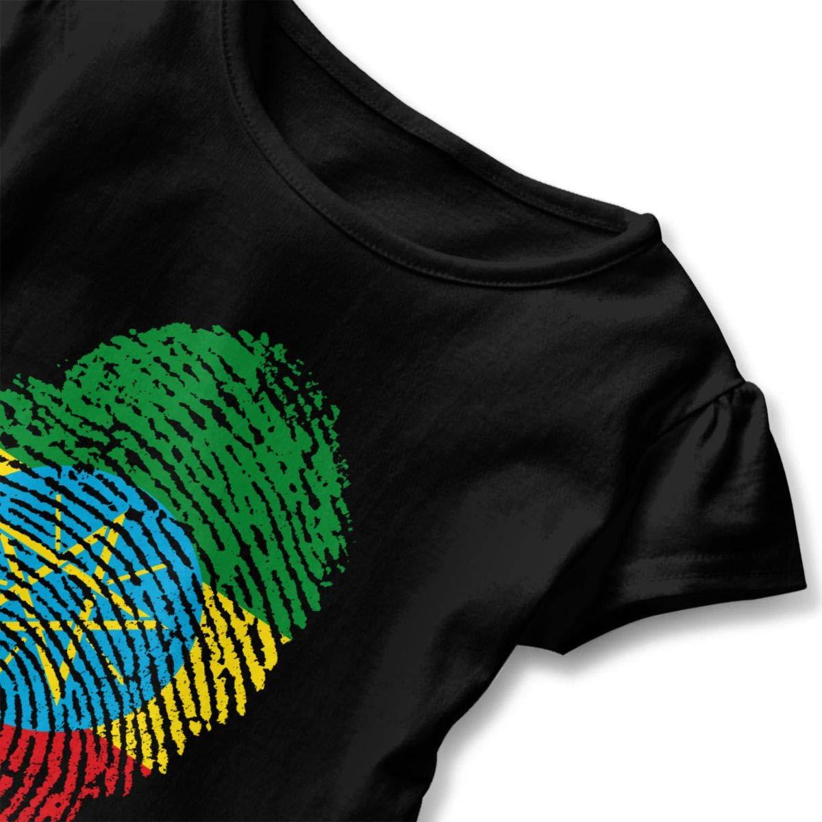 JVNSS Ethiopian DNA Shirt Printed Toddler Girls Flounced T Shirts Graphic T-Shirt for 2-6T Kids Girls