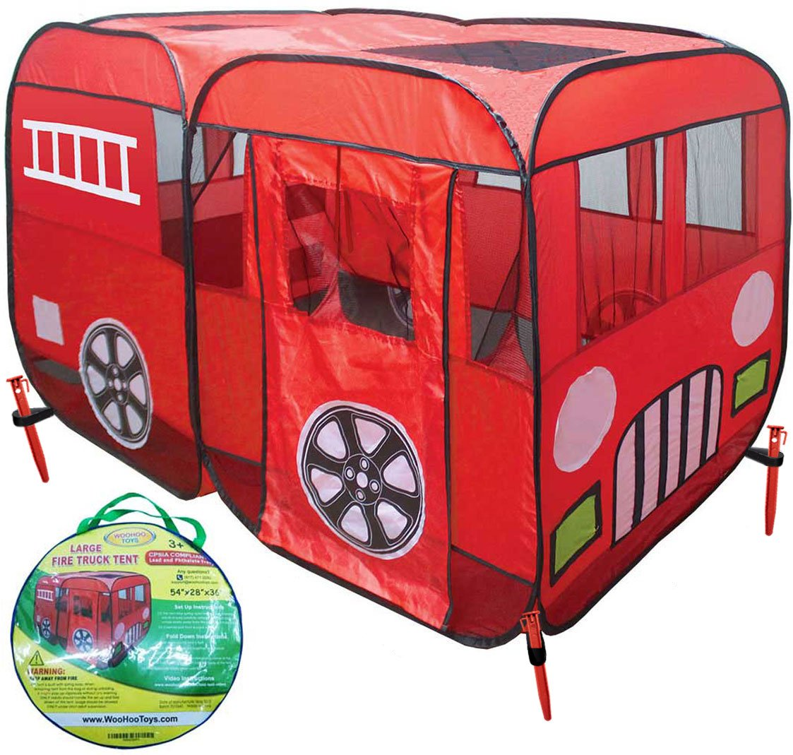 Large Children Fire Engine Truck Pop-Up Playhouse Play Tent (with Step) at Front Door Good for Ball Pit Tents for Toddlers Boys Girls Kids to Play Fireman Sam, Car Tent Can be Used Indoor or Outdoor WooHoo Toys