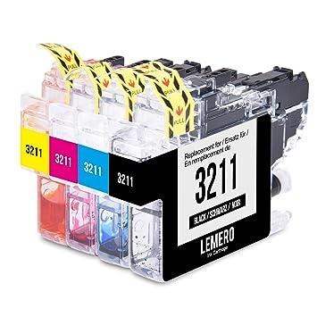 4 LEMERO LC-3211 LC-3211BK LC-3211C LC-3211M LC-3211Y XL Cartuchos de Tinta Compatible para Brother DCP-J772DW DCP-J774DW DCP-J572DW MFC-J890DW ...
