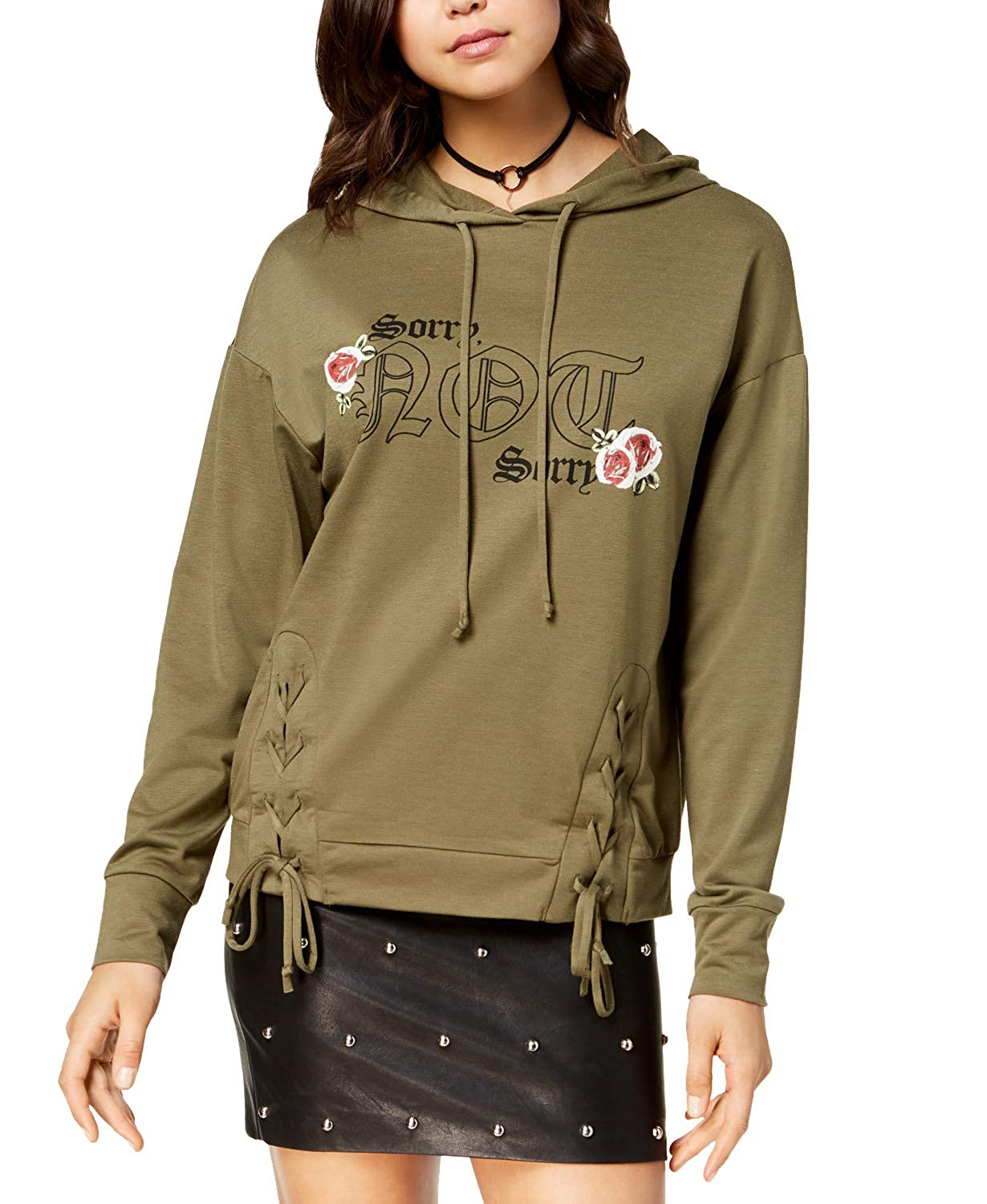 Pretty Rebellious Juniors Lace-Up Graphic Hoodie