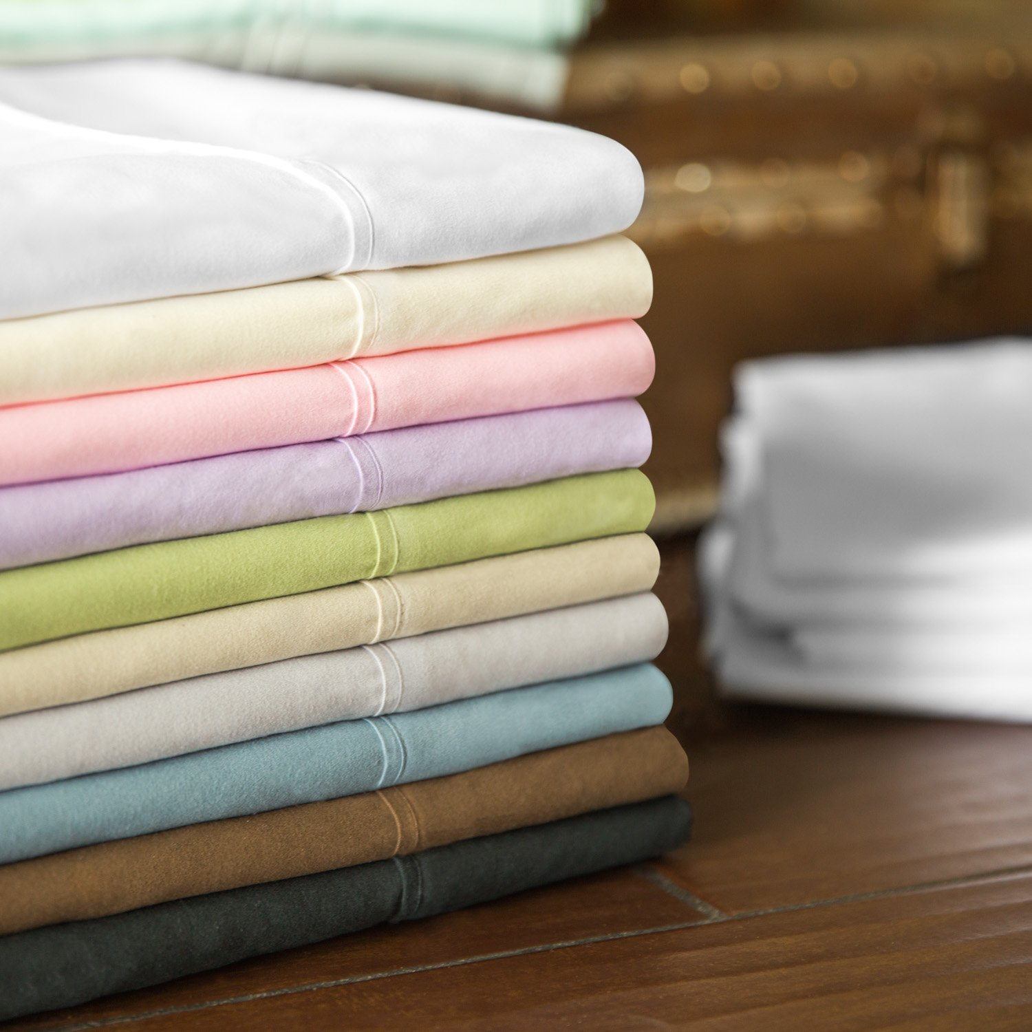 MALOUF Double Brushed Microfiber Super Soft Luxury Bed Sheet Set - Wrinkle Resistant - RV/Short Queen Size - Driftwood by MALOUF (Image #4)