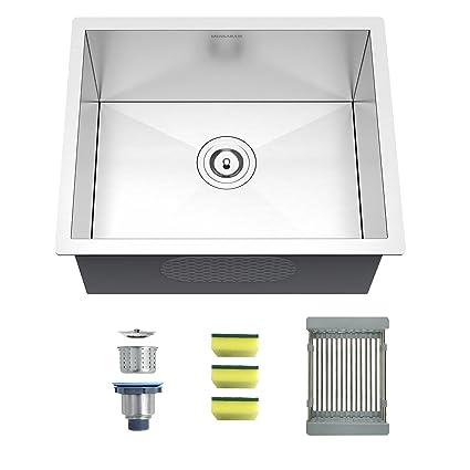 mensarjor 22 inch undermount single bowl kitchen sink 18 gauge rh amazon com