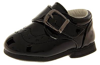 e9070d4c691 Footwear Studio New Baby Toddler Boys Black Velcro Christening Wedding Shoes  Sz Size   UK 2