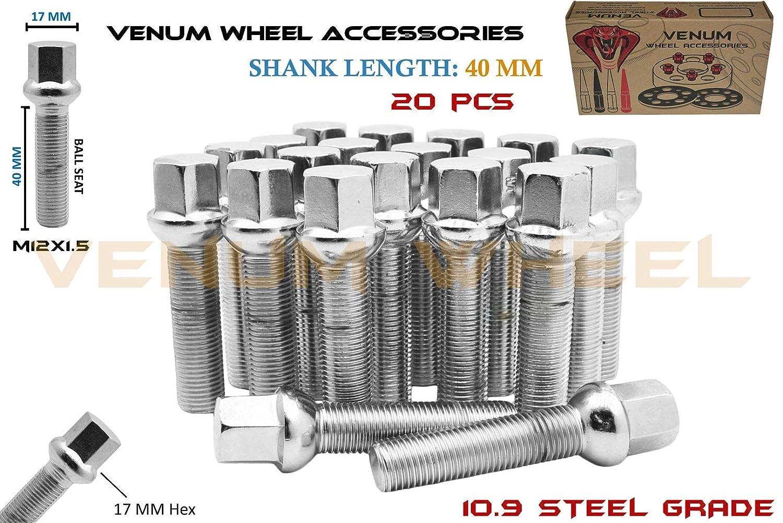 Radius Works with Mercedes Benz W//Factory Wheels Chasis W123 W124 W201 W202 W203 W208 W209 W210 R107 Venum wheel accessories 20Pc Ball Seat M12x1.5 Lug Bolts Chrome 40 mm Extended Length