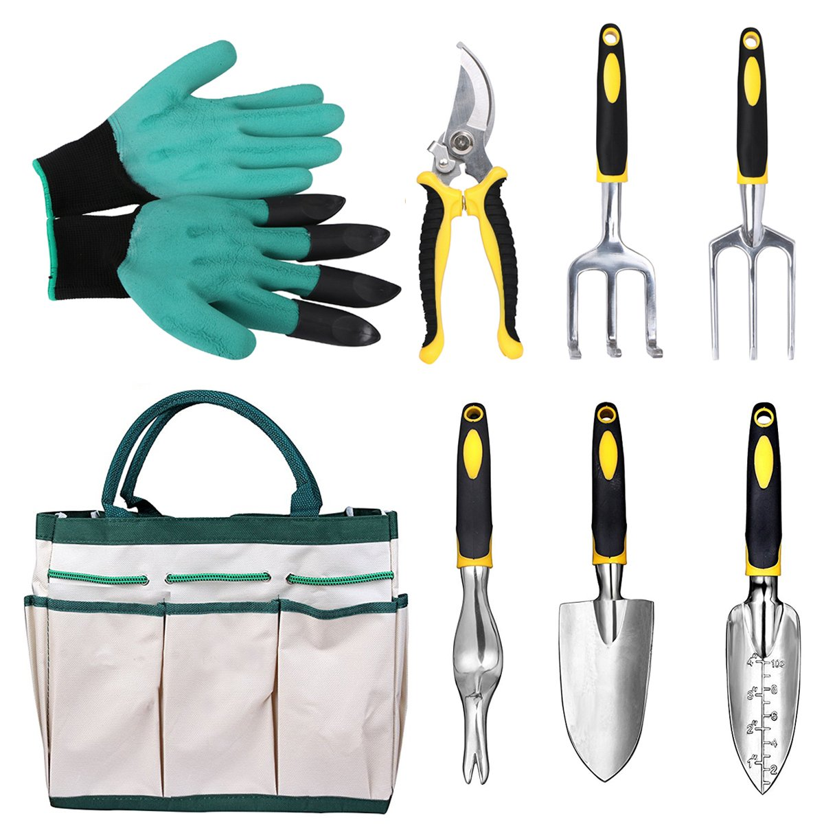 Gardening Tools Garden Tools Set 8 Pieces Gardening Hand Tools with Ergonomic Handles included Trowel Transplanter Cultivator Pruner Weeder Fork Garden Genie Gloves and Canvas Tool Bag, Aunifun