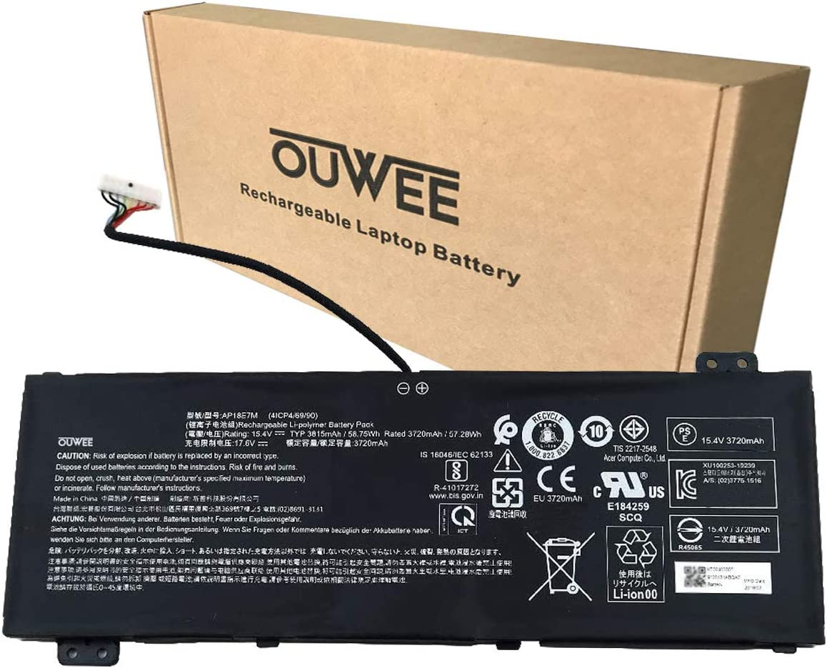 OUWEE AP18E7M Laptop Battery Compatible with Acer Nitro 5 AN515-54 AN517-51 Nitro 7 AN715-51 Aspire 7 A715-74G Predator Helios 300 PH317-53 Triton 300 PT315-51 Series 15.4V 58.75Wh 3815mAh 4-Cell