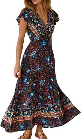 Vestido Mujer Bohemio Largo Verano Playa Fiesta Floral Manga Corta Cuello en V Talla Split Wrap Maxi Vestidos