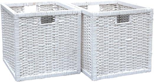Juego de 2 cestas cuadradas de mimbre para almacenamiento en color blanco, 32 (ancho) x 35 (fondo) x 32 cm (alto), pueden servir para regalo: Amazon.es: Hogar