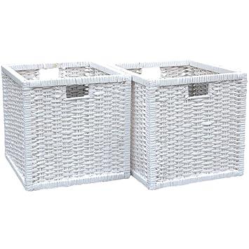 Juego de 2 cestas cuadradas de mimbre para almacenamiento en color blanco, 32 (ancho