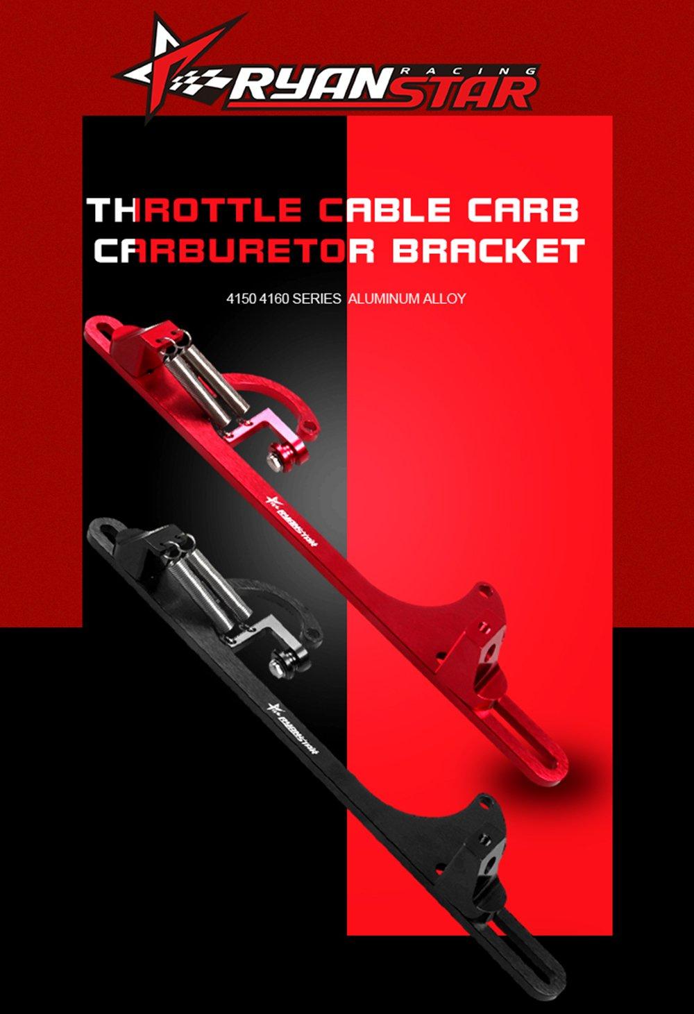Ryanstar 4150 4160 Aluminum Series Black Red Billet Throttle Cable Carb Bracket Red