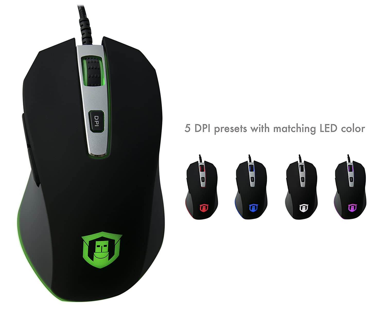 49f86e9297f Amazon.com: Plugable Performance Gaming Mouse - PixArt PMW 3360 Optical  Sensor - Omron Mechanical Switches - PTFE Mouse feet: Computers &  Accessories
