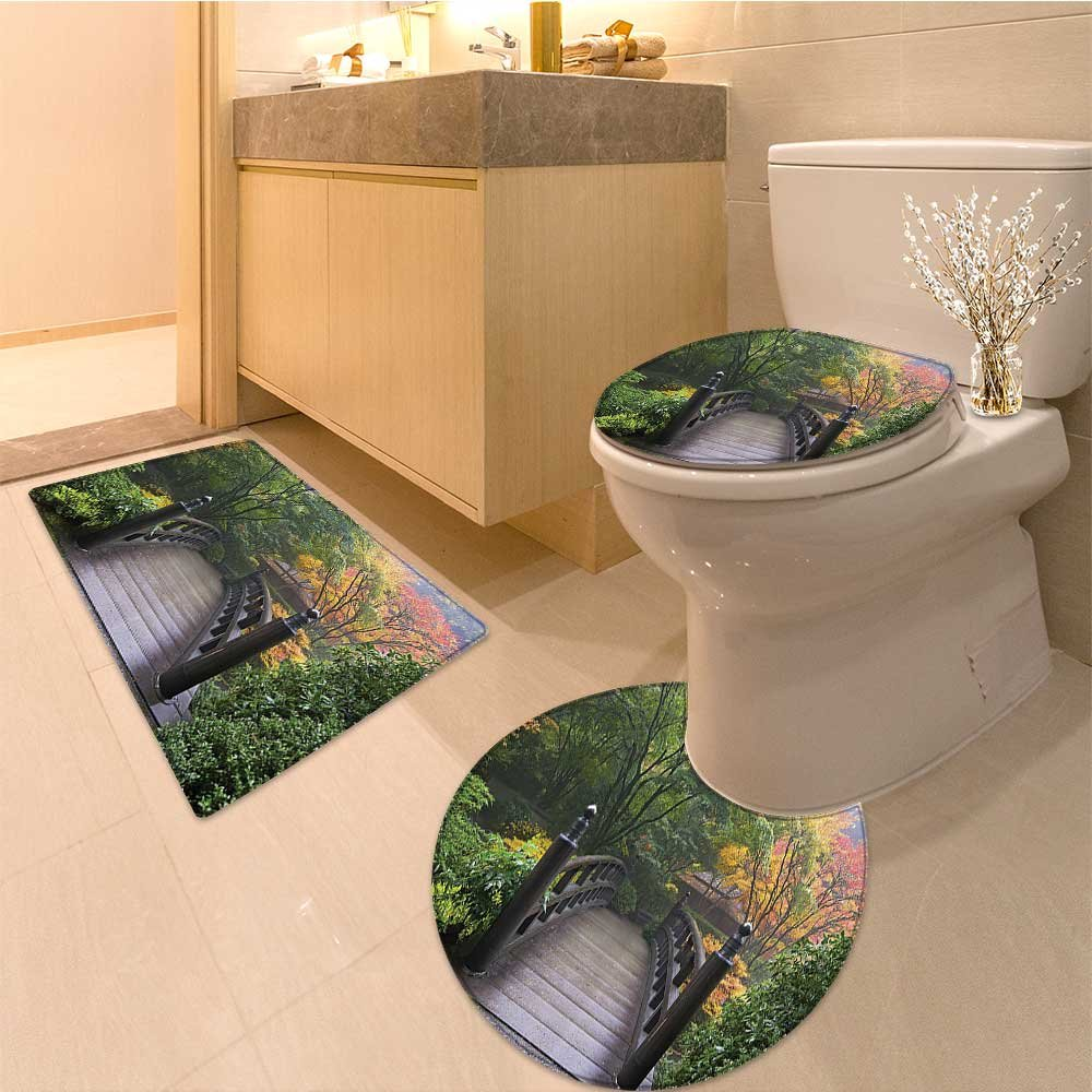 3 Piece Anti-slip mat set Collection Aeria of Scenic Sunset over Hills with Dramatic Colors in Horizon Print F Non Slip Bathroom Rugs