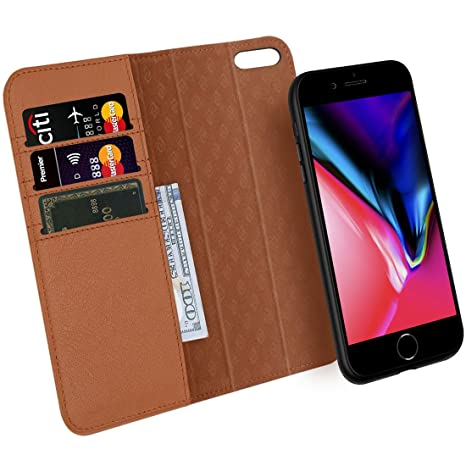 Zover Funda iPhone 8 iPhone 7, Desmontable Funda de Cuero Genuino con Cartera para Tarjetas