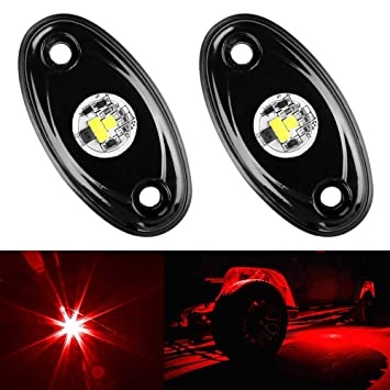 img buy Amak 2 Pods LED Rock Lights Kit Red Underbody Glow Trail Rig Light Waterproof Underglow LED Neon Lights for JEEP Off Road Trucks Car ATV SUV Vehicle Boat - Red