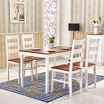 d323e6cd5bfa4 Tason Madera Maciza de Pino Mesa de Comedor y 4 sillas con diseño Moderno