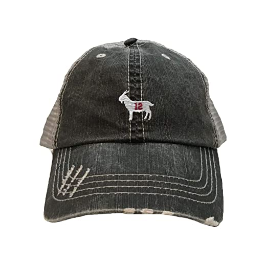 08bb34a001760 Go All Out One Size Black Grey Adult Goat  12 Embroidered Distressed  Trucker Cap