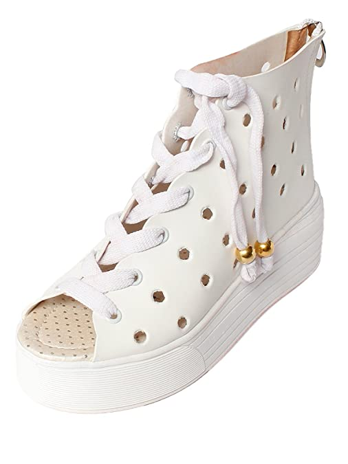 Meriggiare Women PU White Flats Fashion Sandals at amazon