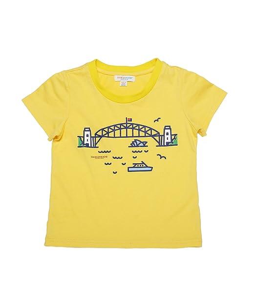 Oceankids Niñass 100% Camiseta de algodón orgánico de algodón suave O-Collar con creyón