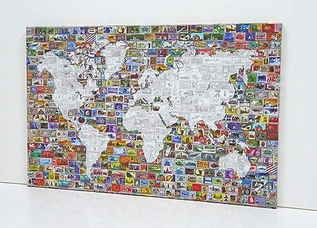 BaikalGallery Lienzo Mapa del Mundo con Sellos Antiguos (P2168)- Impreso en Canvas de algodón de 320 gr Tensado en Bastidor de Madera de Pino de 2 cm de Grosor.Acabado Mate: Amazon.es: Hogar