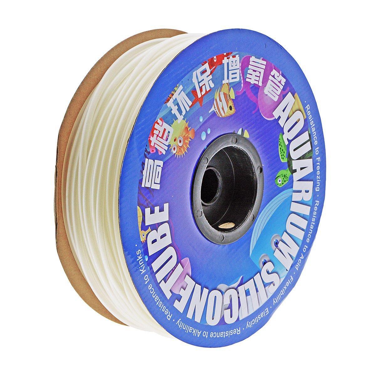 Saim Flexible Air Line Tubing for Aquariums, Airline Tubing 300-Foot Spool (Clear White)
