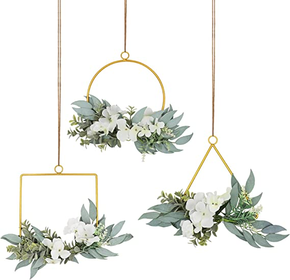 Wall Flowers whited washed  Wall wood hoop Farmhouse Shabby Chic Floral Floral Wall Hanging Floral Hoop