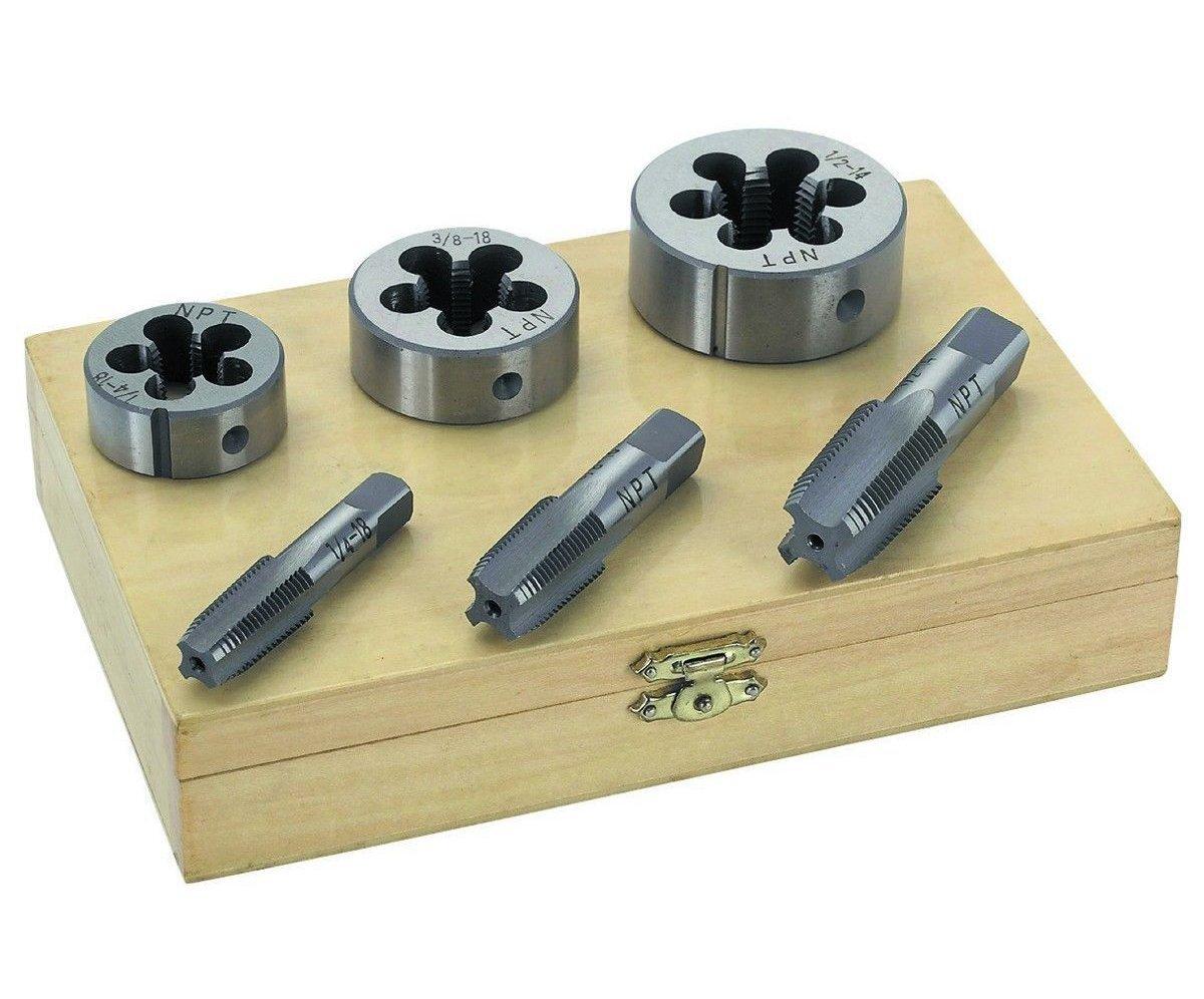 1 Set of 6 Piece Pipe Tap & Die - 1/4'' 3/8'' 1/2'' STEEL TAP & DIE TOOL THREADER THREAD KIT PIPE THREADING by UI PROP TOOLS