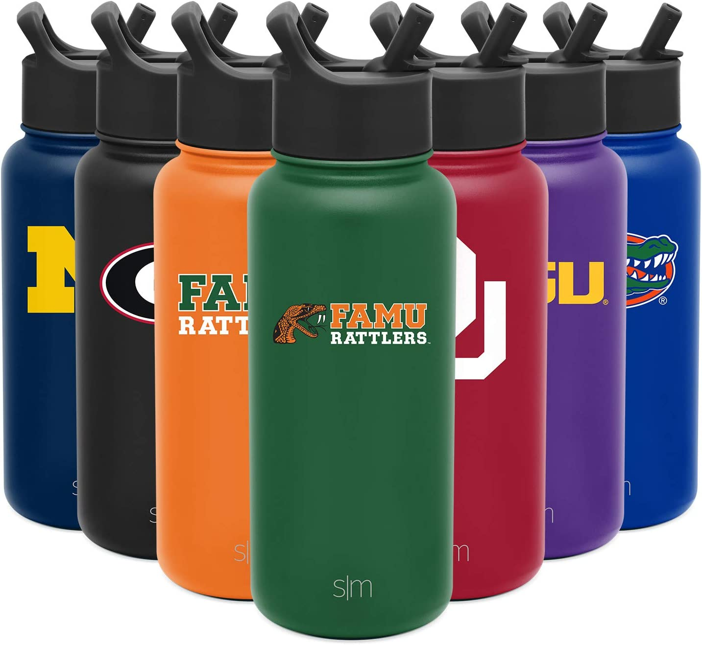Gifts for Men Women Dads Simple Modern 32oz Summit Water Bottle with Straw Lid Leakproof Travel Tumbler Stainless Steel Florida A/&M Rattlers