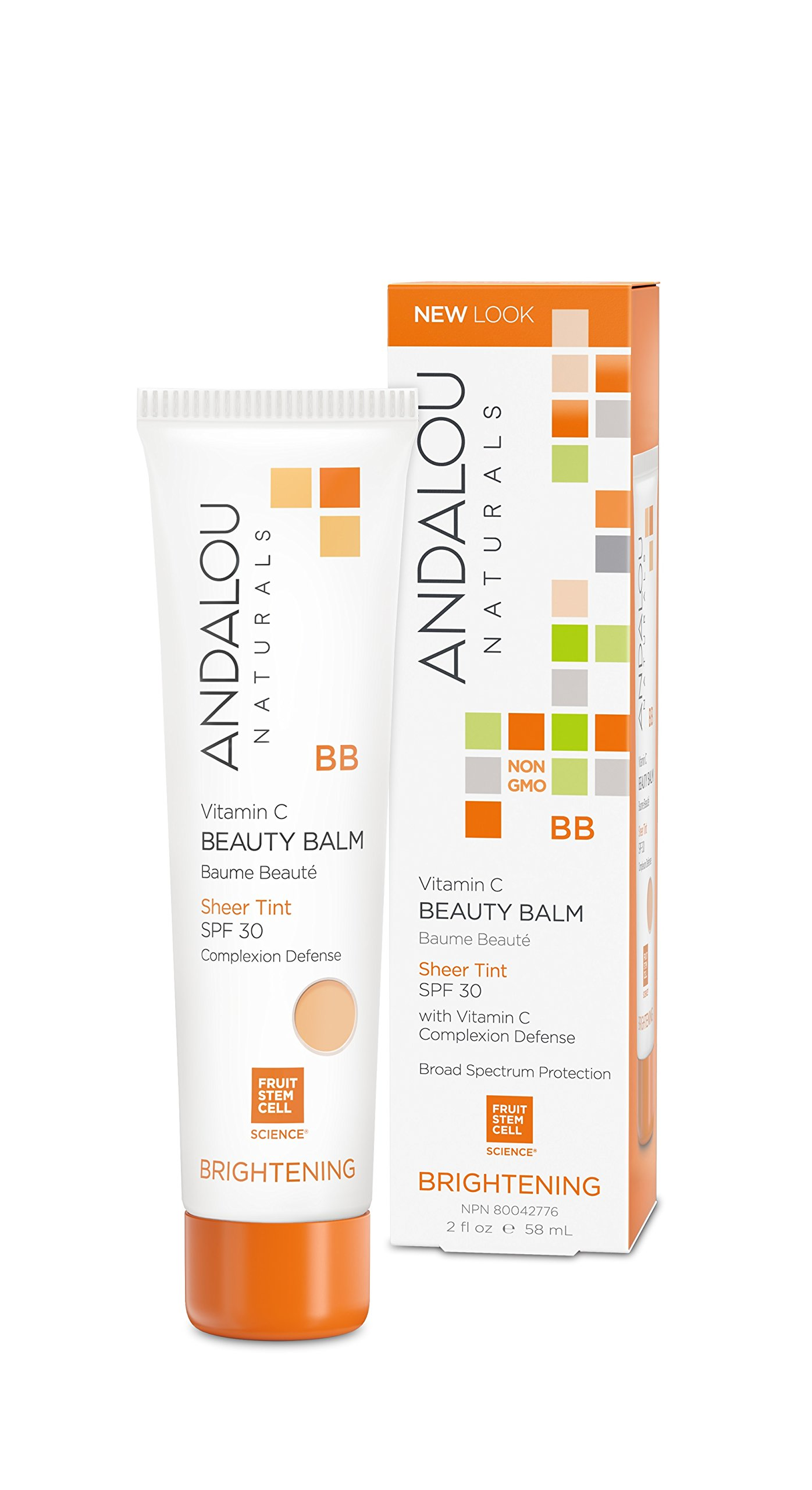 Andalou Naturals Vitamin C BB Beauty Balm, Sheer Tint, SPF 30, 2 oz, Protects, Brightens with Vitamin C, Evens Skin Tone