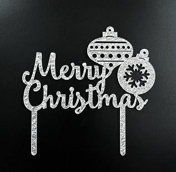 merry christmas cake topper holiday christmas party decoration silver - Christmas Cake Decorations Amazon