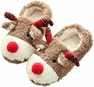 Thgonwid Knitted Cotton Plush Lining Cozy Cartoon Lovers Indoor Home Slippers