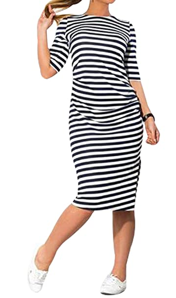 Amazon.com: Women Plus Size Black and White Striped Long Sleeve ...