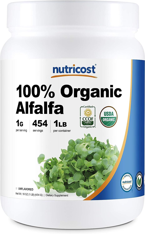 Nutricost Organic Alfalfa Powder 1LB - USDA Certified 100% Organic, Vegan, Non-GMO, Gluten Free