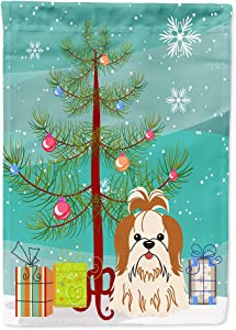 Caroline's Treasures BB4212GF Merry Christmas Tree Shih Tzu Red White Flag Garden Size, Small, Multicolor