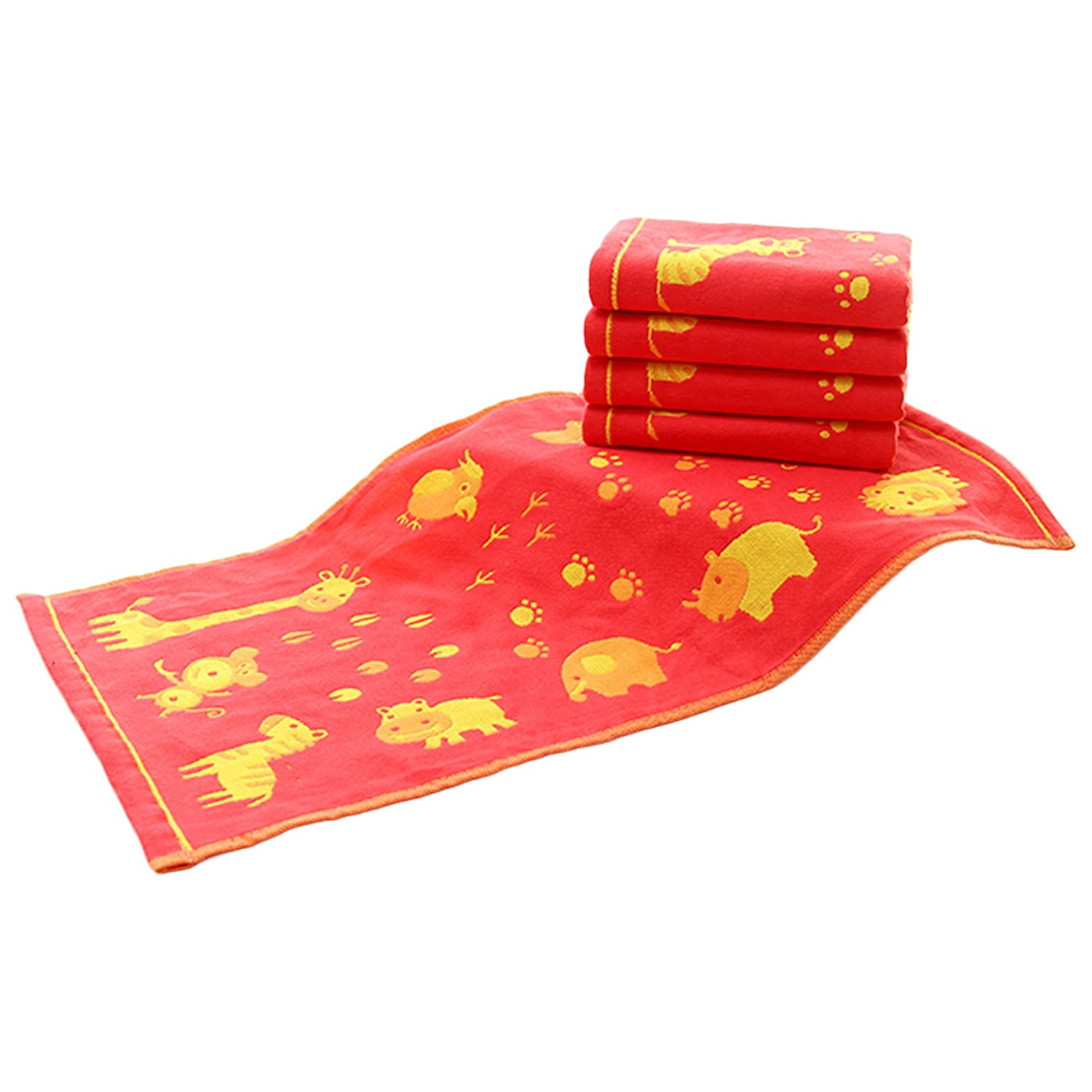 Premium Baby Cotton Towel Set - 100% Cotton Cute Animal Baby Hand Towel - Water Absorbent Care for Delicate Skin - Ultra Soft - for Boys Girls Newborns Infants Toddlers - 10 × 20 - 5 Pieces (red) Lovefire International