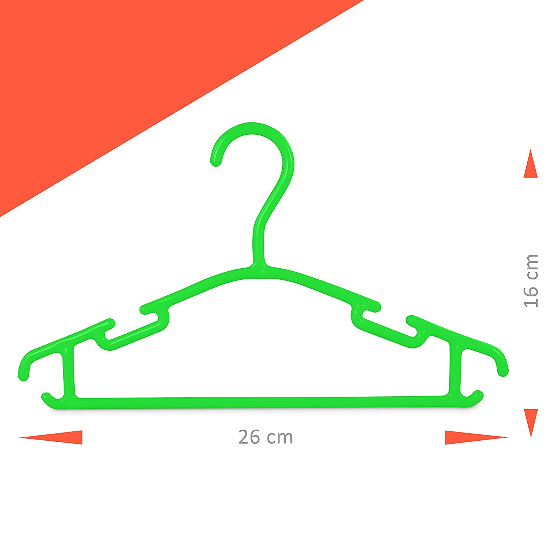 Grinscard Set 30 Appendiabiti per Bambini Verde Plastica Grucce Vestiti per Neonati e Bambini