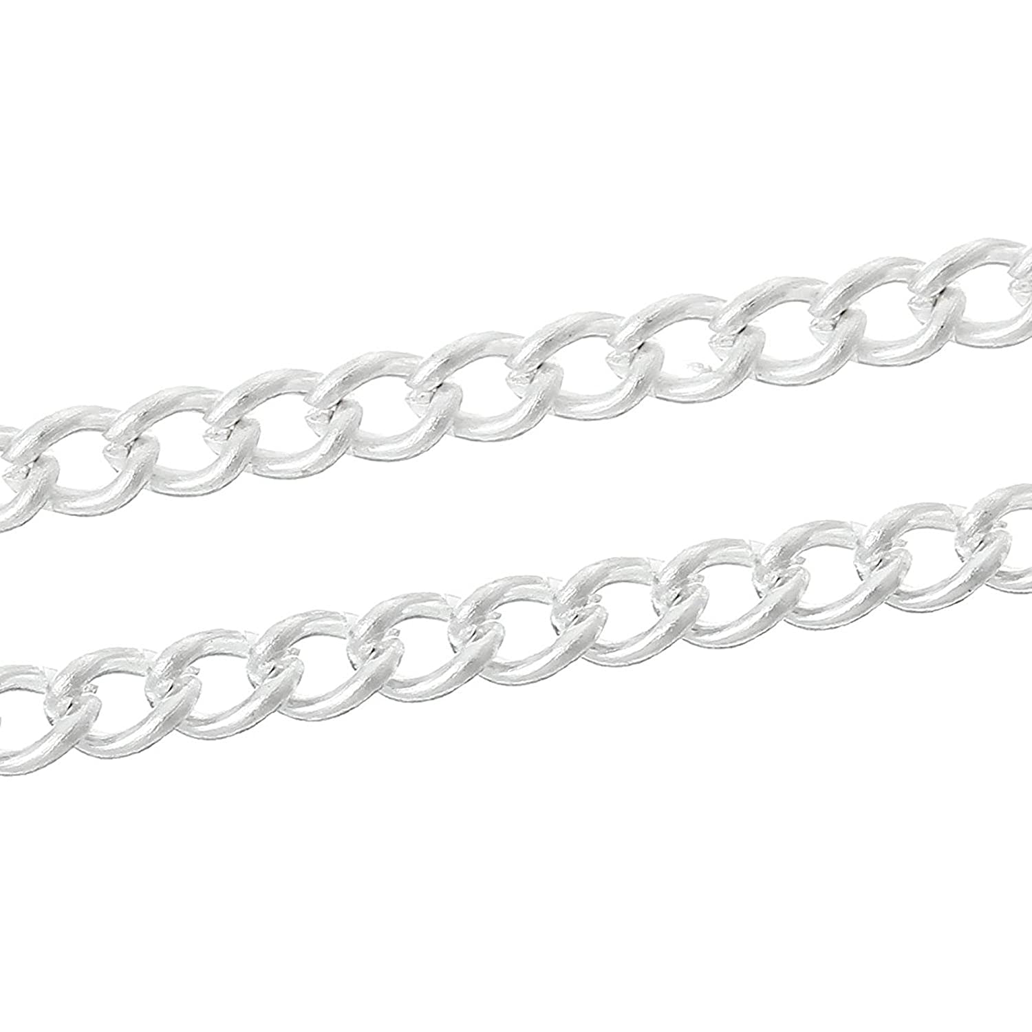 4 x Metres 3mm x 2mm Silver Plated Curb Chain Craft Jewellery Making Beading Arts Crafts Charm Buddy Charm Buddy ® REF: #FDN.61.