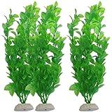 WalshK 3 piezas de acuario de peces de tanque Plantas artificiales de plástico verde 10.6