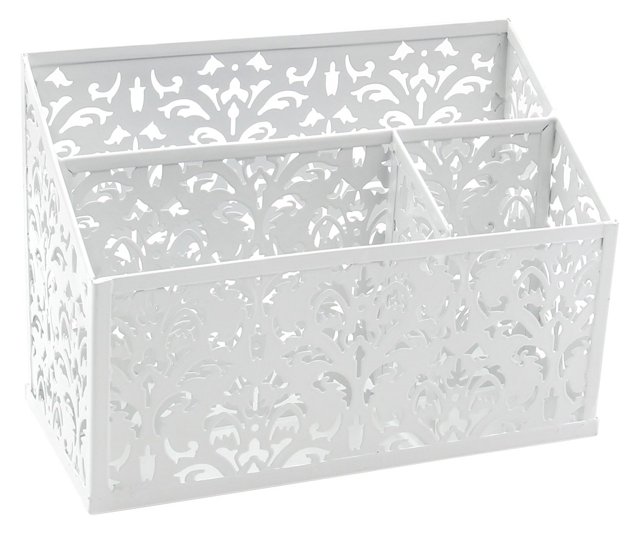 EasyPAG Decorative 3 Compartment Desk Organizer Office Supply Caddy , 8-1/2 X 4 X 4 inch ,White