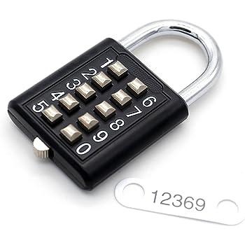 10 Digit Button Combination Padlock 5 Locking Mechanism