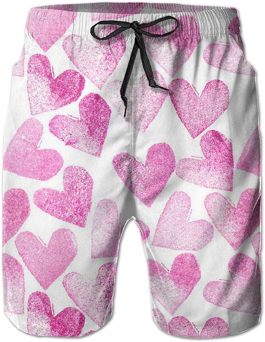 Boys Board Shorts Pink Love Heart Quick Dry Swim Surf Trunks